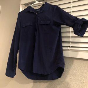Navy blue 3/4 length button up